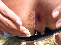 Hot sissy ass fucks herself outside next connected with pool