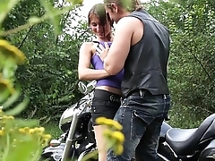 MyFirstPublic Cumshot in country side for brunette cock rider with big ass