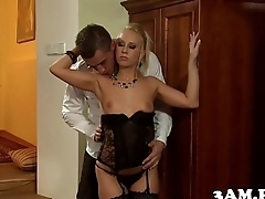 Classy escort babe cockriding in stockings