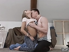Flawless slim girl gets her slim vagina and small ass hole shagged