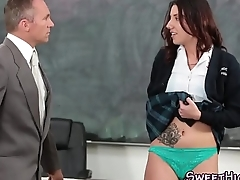 Teen fucks old pervert