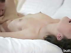 Glamorous skinny sweetie gets her spread cunt and compacted ass hole nailed
