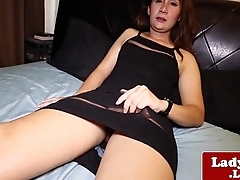 Dressed asian shemale jerking the brush cock