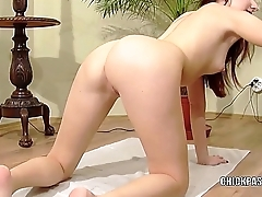 Brunette cutie Jenny fucks her little twat with a toy