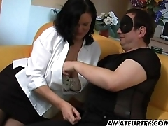 Chubby amateur old lady sucks and gets masturbated