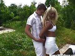 Old Blonde Eva Involving Public Two On One Fucking