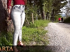 Sexy teen in tight jeans with wobbling buttocks
