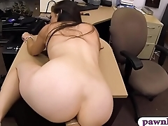 Brunette babe pounded by pawnshop Eye dialect guv'nor in hammer away office