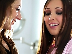Lesbian Bathroom Sex With Remy LaCroix and Jenna Sativa