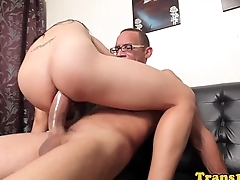 Ladyboy cockriding before facial from guy