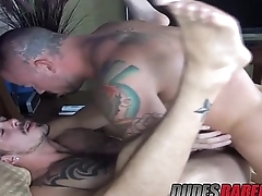 Jimmie Slater uses his huge dick to fuck Staff Warrens holes