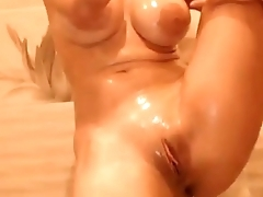ashley taking a hot shower