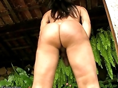 Sexy shegirl plays in shecock outdoors in the pool