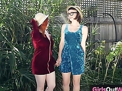 Lustful hairy lesbians lick cunts and assholes outdoors