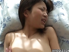 Asian slut has a fuck deep in the brush wet pussy pie