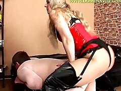 Femdom Flaxen-haired Fucks A Mendicant Doggystyle