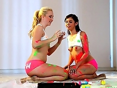 Cute teen friends Samantha Rone and Taylor Reed