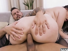 Awesome brunette blows big blarney in advance anal fucking