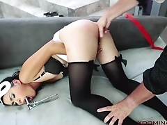 Exotic MILF analyzed wits master in the living room