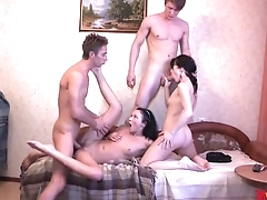 Lovely Russian whores agree on having amateur orgy