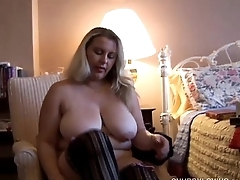 Super cute busty BBW in sexy lingerie plays close to her juicy pussy for you