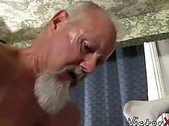 Hairy dad with aware loves eternal bareback sex and blowjob