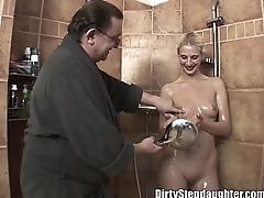 Lucky Dad Fucks Blonde Stepdaughter Take The Shower