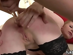 Horny babe opens up her snatch and enjoys hardcore sex