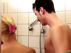 German MILF Jolly along to Lose one's heart to by Step-Son Big Dick in Shower