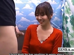 Subtitle CFNM Japan handjob blowjob for confidence
