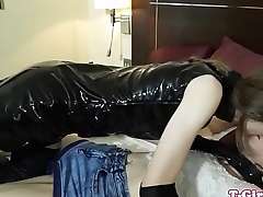 Twosome tgirl fucked with strapon mouth gag