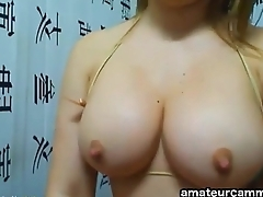 Downcast Latina with big boobs fucking with Dildo on Cam - http://amateurcammers.com